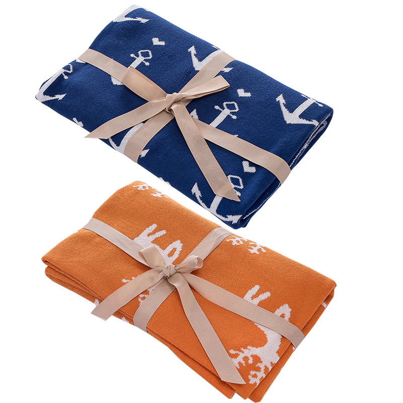 Nordic Style Baby Knitting 100 %Cotton Blanket Baby Bedding Quilt Double-deck Swaddle Wrap Infant Safe Appease Towel Birth Gift