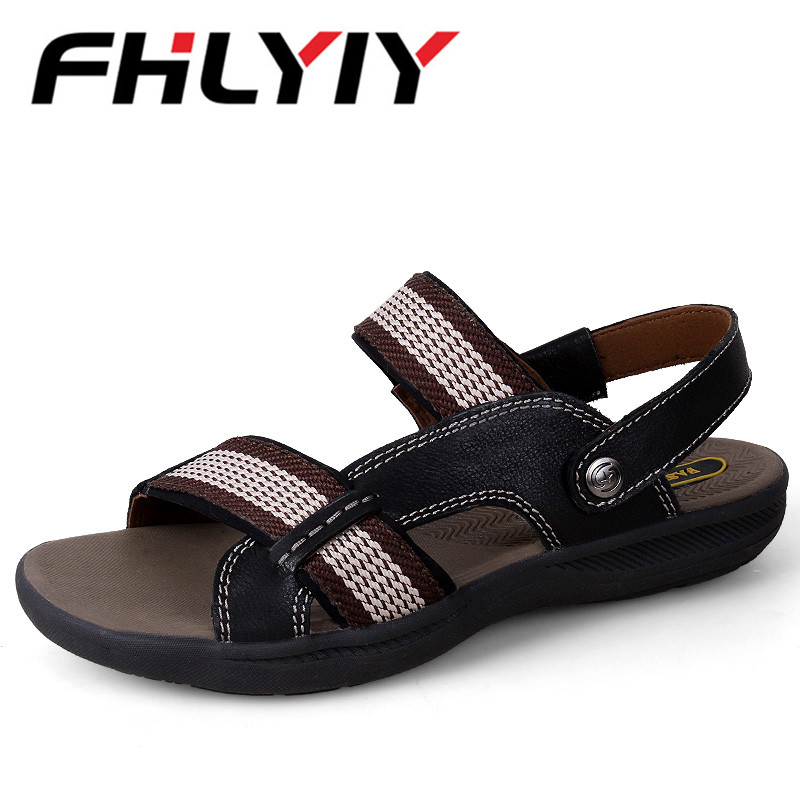 Big Size 36-47 Men Leather Sandals Dress Business Sandals For Man Fashion Outdoor Slippers Breathable Footwear Function Shoes