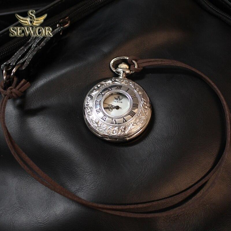 SEWOR 2019 Top Luxury Brand Fashion Slivery  Bronze Quartz Enamel Flower Design Dual Display Pocket Watch White Dial C161