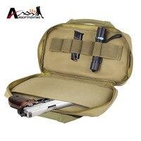 14 Tactical Handgun Pistol Carry Bag Case Airsoft Padded Shockproof Gun Handbag With Flashlight Bullet Shell