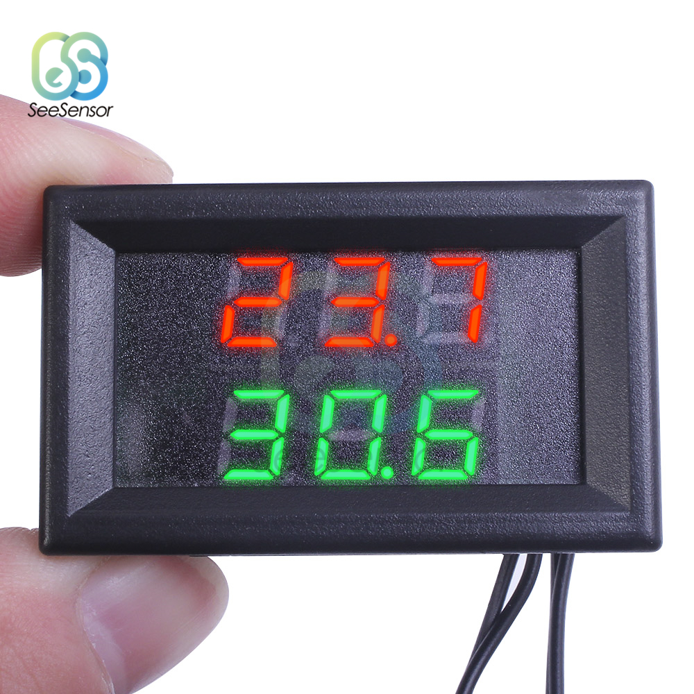 Mini DC 4 28V Dual Display Digital Thermometer with NTC Waterproof Metal Probe Temperature Sensor Tester for Car Room Indoor in Temperature Instruments from Tools