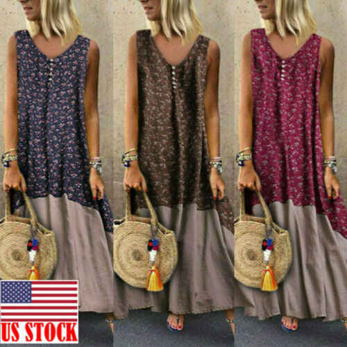 Retro Long Dress Women Sleeveless Boho Cotton Linen Loose Maxi Dress Kaftan Floral Summer Beach Holiday Dresses Vestido 3XL 2019