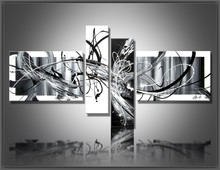Multi Piece Combination 4 pcs/set Canvas Art Abstract Oil Painting Black And White Wall Hand-Painted Pictures Home Decor