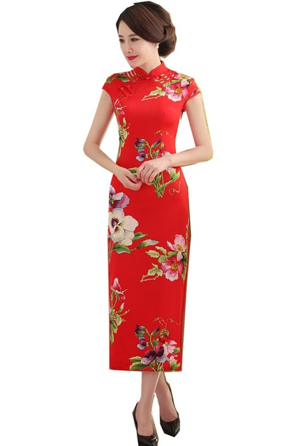 c9f1f5524 Shanghai Story Faux Silk Floral Print Oriental dress long Qipao Dress  chinese traditional dress Chinese cheongsam dress 4 Color