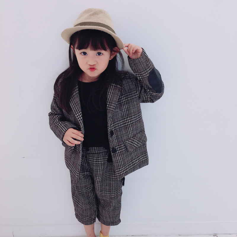 2pcs Boys girls spring autumn clothing set kids fashion plaid suit and pant set baby casual clothes children outfit 1-6 years