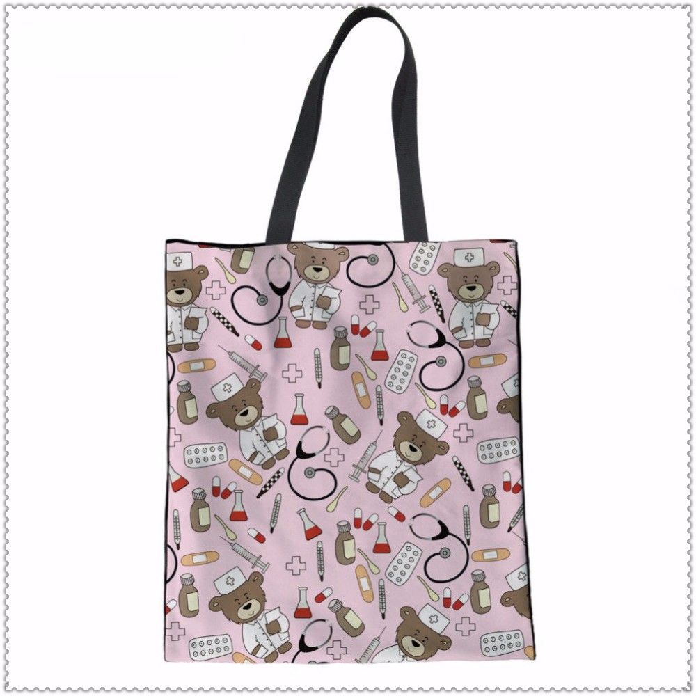 INSTANTARTS-Eco-Friendly-Canvas-Shopping-Bag-Nurse-Bear-Printing-Travel-Large-Tote-Bag-Supermarket-Grocery-Bag