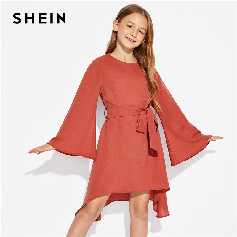 SHEIN Rust Solid Long Sleeve Ruffle Belted Elegant Party Dress Toddler Girls Clothes 2019 Spring Korean Fashion Short Dress scoop neck long sleeve skater dress