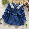 Baby Coat Hot Sale Flare Sleeve Solid Oxford 2016 New Spring Cute Baby Girl Coat Jacket Full Sleeve Toddler Outerwear 80-100cm