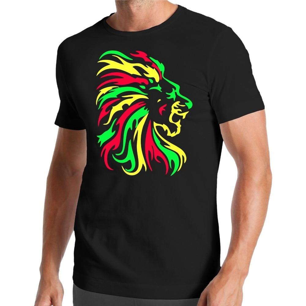 Lion T-Shirt | Reggae | Jamaïque | Smoke Weed | Lion | Jungle | Afrique 2018 Dernières O-cou Lumière Du Soleil Hommes imprimé T Shirt