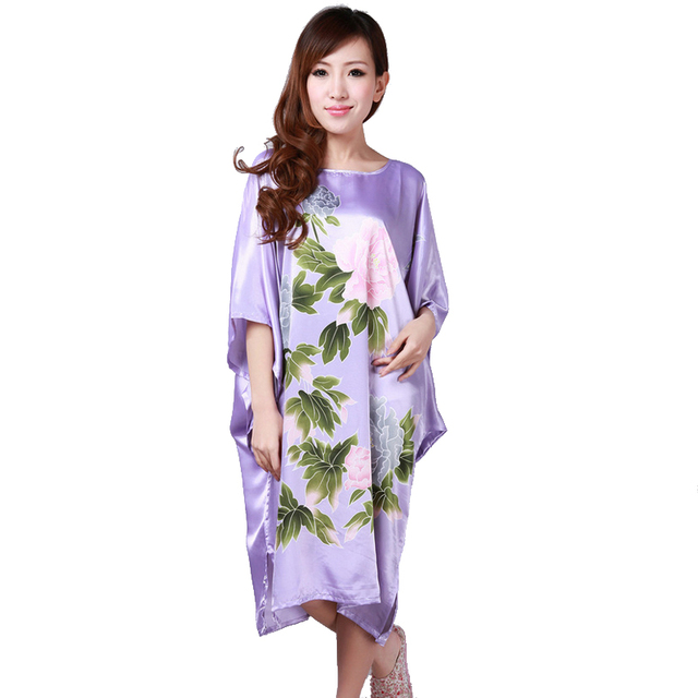 Hot Sale Purple Summer Chinese Women s Nightgown Silk Rayon Bath Robe Dress  Kimono Gown Flower Sleepwear b79efcb6c