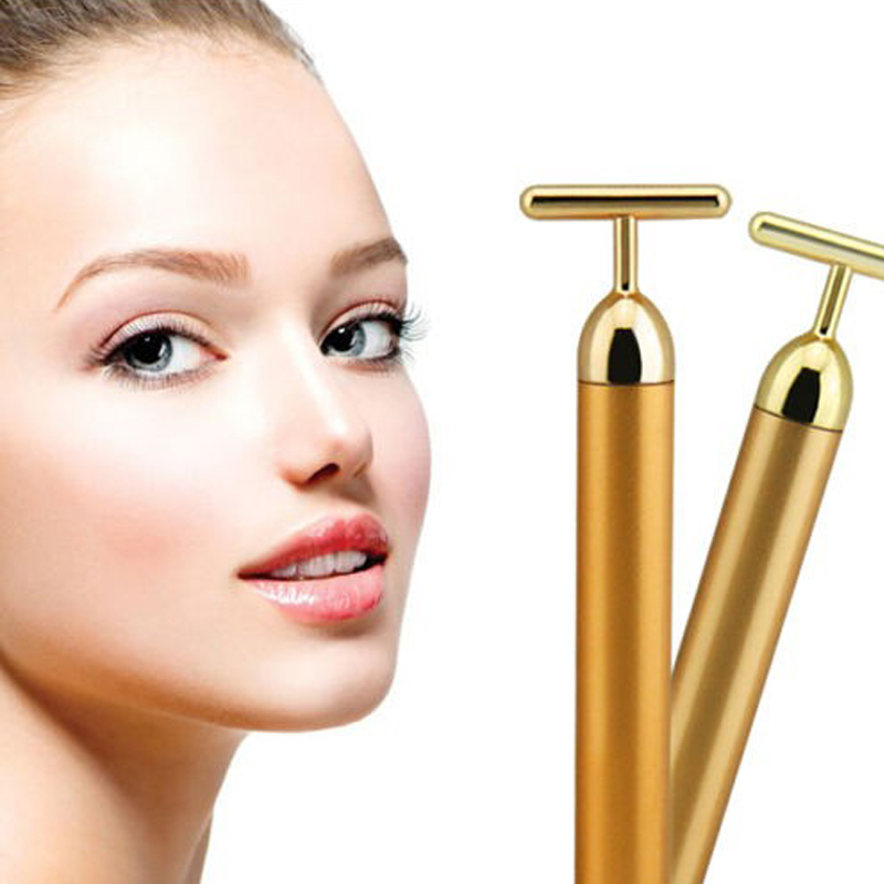 Beurha Slimming Face 24k Gold Vibration Facial Beauty Roller Massager Stick Lift Skin Tightening Wrinkle Bar Face with Black Bag slimming face massager stick 24k gold vibration facial beauty roller lift tightening wrinkle stick bar face skin care with box