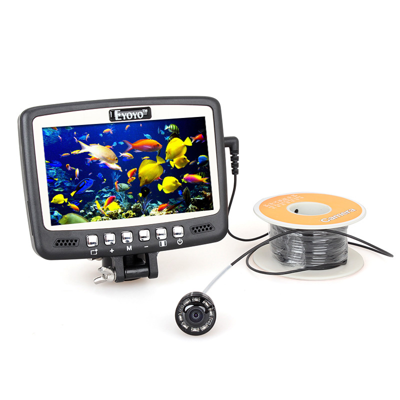 Eyoyo Original 1000TVL Underwater Ice Fishing Camera Detection Range 15m Fish Finder 4.3'' Color LCD Monitor 8pcs IR LED Camera eyoyo original 7hbs 15m underwater fishing camera fish finder 4 3 lcd monitor 1000tvl cam 8pcs infrared led sunvisor orange