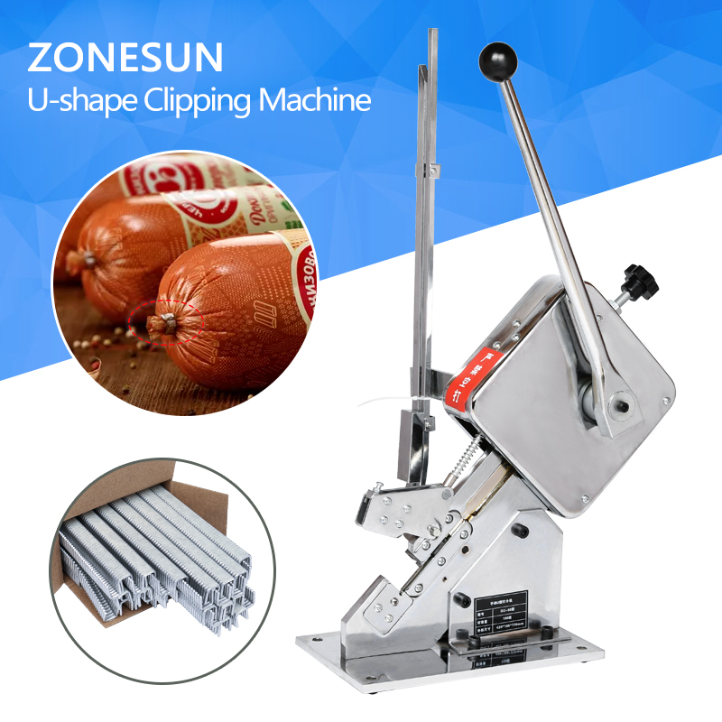 ZONESUN Clipping Machine Manual U-shape Sausage Clipper Maker Supermarket Tightening Machine No leakage of air & water zonesun 1 box buckle for manual u shape 506 503 sausage clipper clipping machine maker clips for supermarket tightening machine