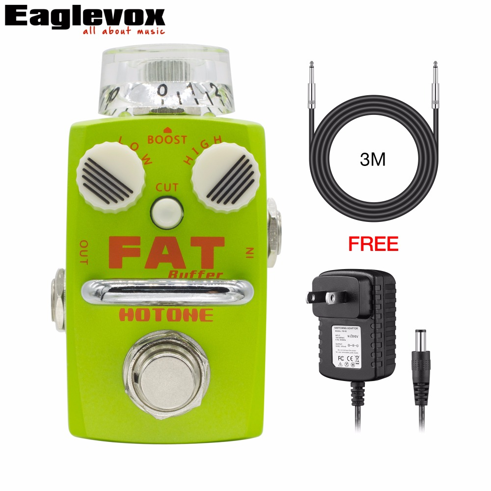 Hotone Fat Buffer Electric Guitar Effect Pedal Buffer Preamp with Free Power Adapter and 3m Cable hotone brand soul press wah volume expression crybaby pedal electric guitar pedal free shipping