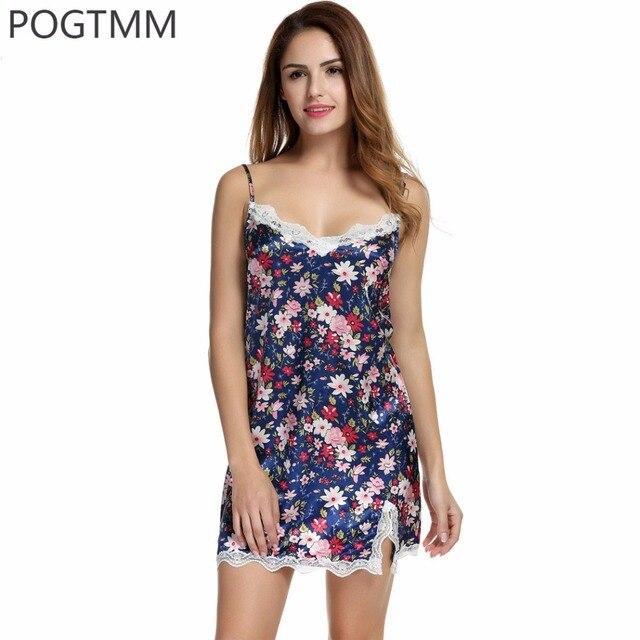 dc852fc3d6 Summer Sexy Lace Floral Sleepwear Women Spaghetti Strap Silk Nightwear  Vintage White Satin Nightgown Night Sleep Dress Nighty L3