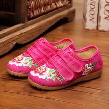 New chinese style beautiful flower embroidery child canvas flats shoes dance shoes for children foot length 15-21 cm Hook&Loop