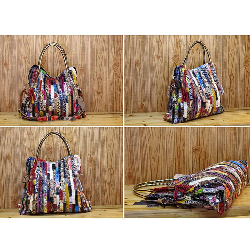 Bolsos de mano de cuero genuino de serpentina para Mujer nueva moda bolsas de mensajero de diseñador de marcas de lujo bolsas de hombro de Mujer calientes-in Cubos from Maletas y bolsas    3