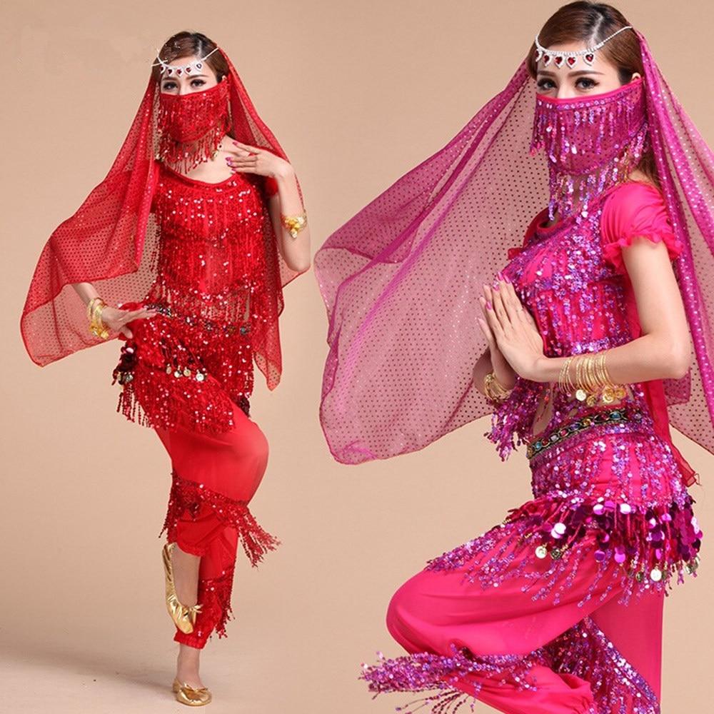 Brzucha kostium taneczny zestaw dla kobiet dziewczyn brzucha kostium taneczny Gypsy frędzle cekiny Bollywood pas z egipskiej orientalne kostiumy do tańca 1