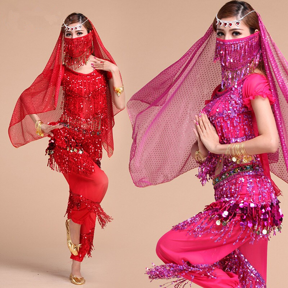 Belly Dance Costume Set For Women Girls Bellydance Costume Gypsy Tassels Sequins Bollywood Belt Egyptian Oriental Dance Costumes