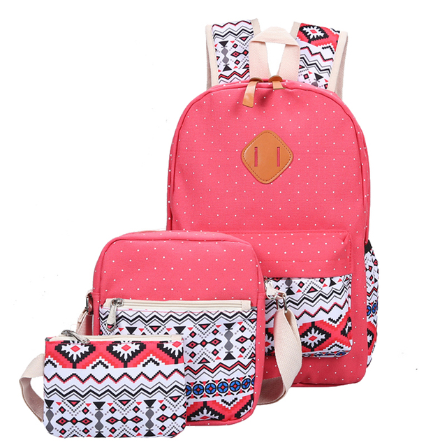 c92f90fe18 3 Pcs Set Fashion Canvas Printing Women School Bags for Teenage Girls Cute  Book bags