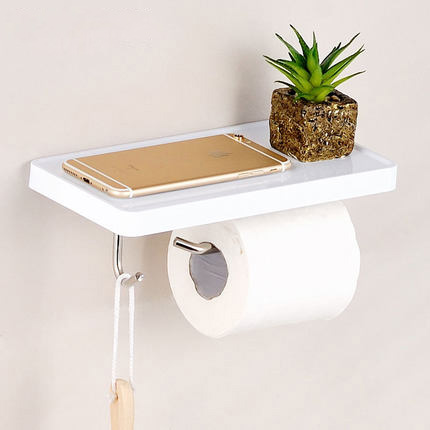 Free Shipping/New Style Bathroom Paper Towel Dispenser WC Roll Paper Rack With Shelf Wall Mounted And Hook