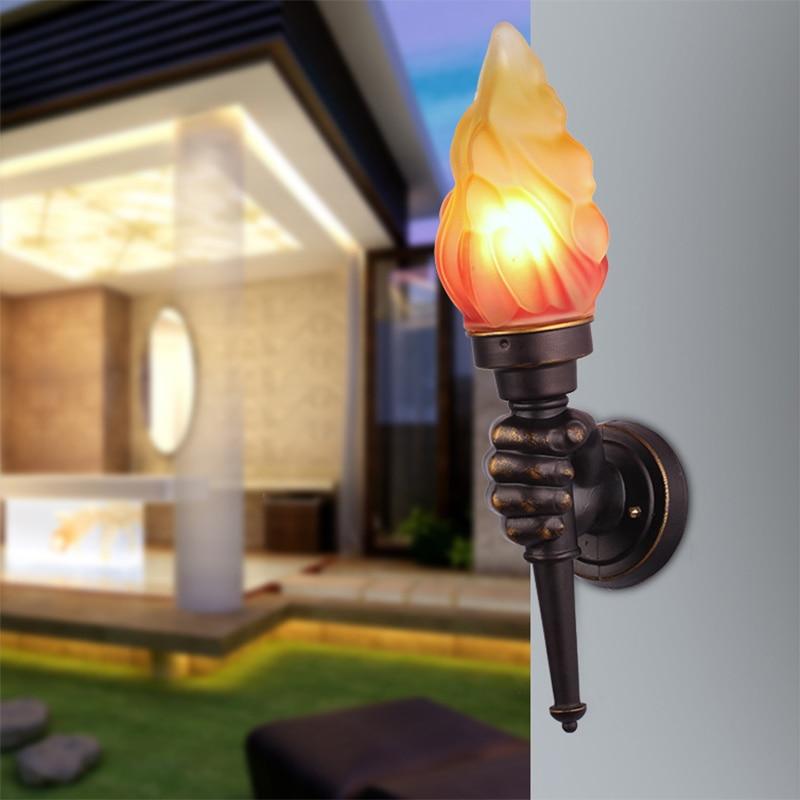 Torche créative applique murale restaurant bar rétro en aluminium moulé sous pression lampes murales décoratives main gauche lampes murales portables ZA418743