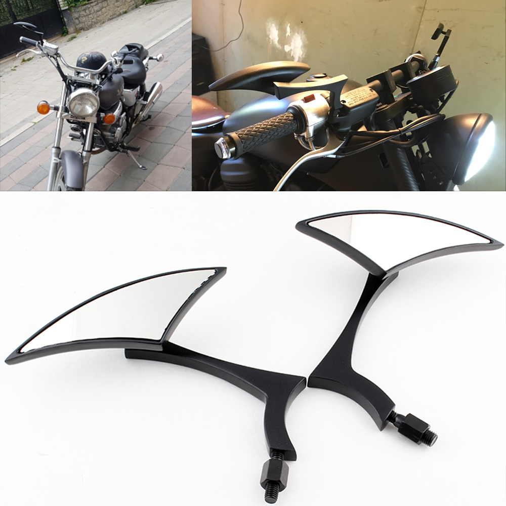 Motor Bike Motorcycle Mirror Black Aluminum End Mirrors Rearview Mirror 8MM 10MM Side Mirrors qc m prince universal 0 8mm motorcycle rearview mirror silver black pair