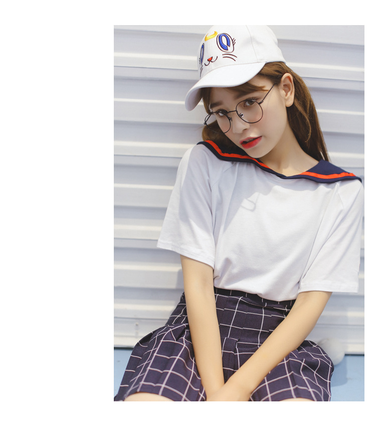 Korean Fashion Women's College Navy Wind Loose Fake Two Embroidered Scarf Collar T-shirt New Letter Women Tee