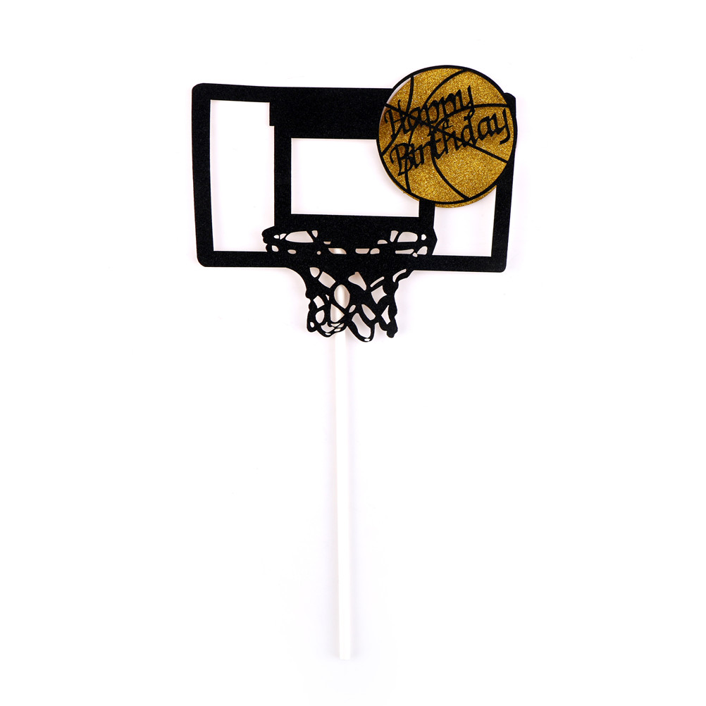 Kids Birthday Party Art Door Cake Flags Baby Shower Wedding Baking Decor Happy Birthday Basketball Cupcake Cake Toppers Wedding & Anniversary Bands