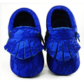 2016 New Genuine leather baby shoes girls first walker baby moccasins silver fringe Toddler boy Moccs shoes Christmas gift