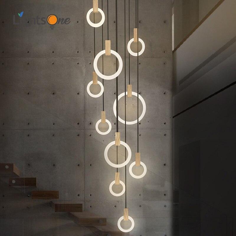 Treppe Lange anhänger lampen Moderne Einfache Villa Atmosphäre Nordic Kreative Persönlichkeit Aura Rotary Duple anhänger licht