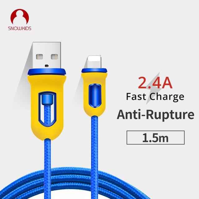 Snowkids Kabel 2 stks/partij voor iPhone X 8 7 6 5 XR XsMax Warriors Ontwerp 1.5m voor Lightning naar USB Snel Opladen