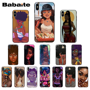 Funda de teléfono negra Babaite para iPhone X Xs Xr XsMax 10 7plus 8 8plus 6 6s 5 5s SE 5c11 11pro 11promax