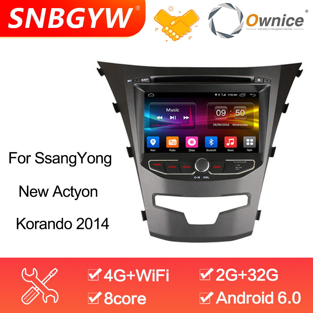 Ownice C500 8 Core Android 6.0 2GB RAM 32GB ROM Car Autoradio For Ssangyong Actyon Korando Support 4G SIM LTE Network DAB+ DH208