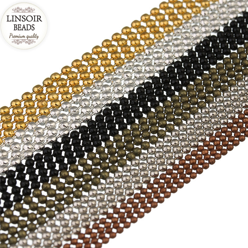 10m/lot 1.2 1.5 2 mm Metal Ball Bead Chains Bulk Black/Silver/Gold Color Link Chains for Diy Necklaces Bracelets Jewelry Making