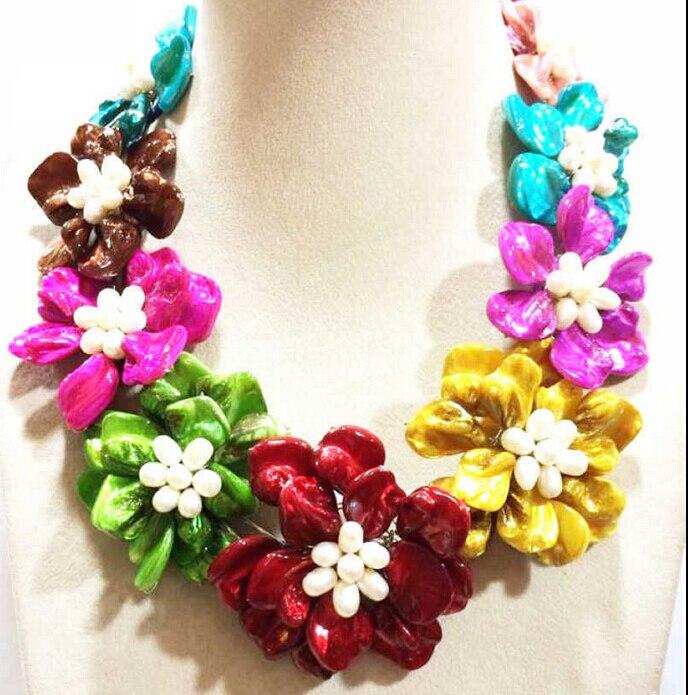 >>>> Z5930 100% fait main multicolore shell blanc perle fleur COLLIER 18 pouces