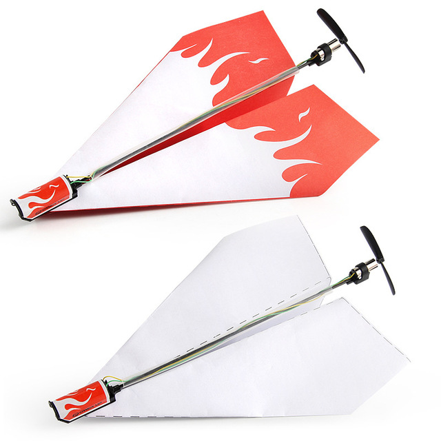 Children's toy motor electric paper airplane model folding DIY paper Power Toys Airplane Rc Folding Motor Power Red Rc Plane 5