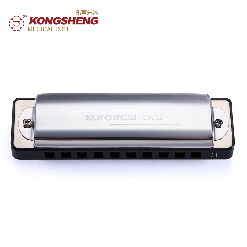 KONGSHENG Diatonic Harmonica 10holes Blues harp for beginners Black Silver Mouth Organ Key of C/D/E/F/G/A/Bb with case