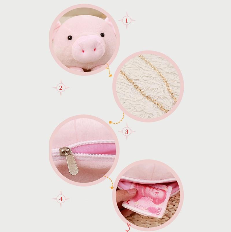 Mini Backpack School Cute Girls Bag Shopping Plush Stuffed Animal Backpack Shoulder Bags Cartoon Pig Anime Toddler Purse Pink in Plush Backpacks from Toys Hobbies