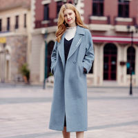 2017 Autumn And Winter Woolen Coat Women S Straight Pure Long Sleeve Woolen Trench Double Breasted