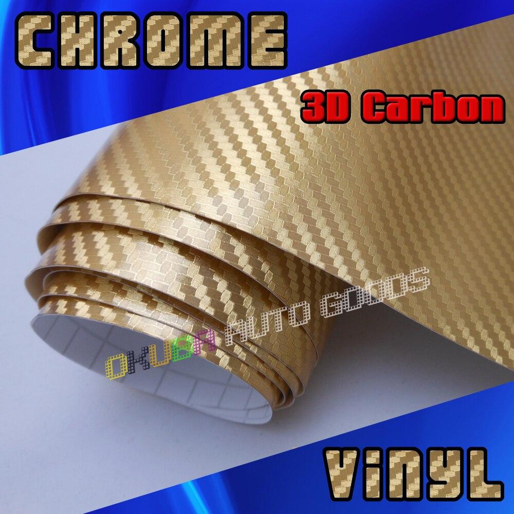 FedEx Бесплатная доставка Золото Хром 3D углеродного волокна vinly оклеивание лист с воздушный пузырь Бесплатная/Размеры: 1,52*30 м/Толщина: 0,16 мм