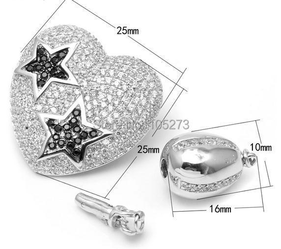 Cœur d'étoile assorti à la combinaison multifonctionnelle fermoir en argent 925, collier en cristal de perle naturelle de haute qualité bricolage, fermoir bracelet.