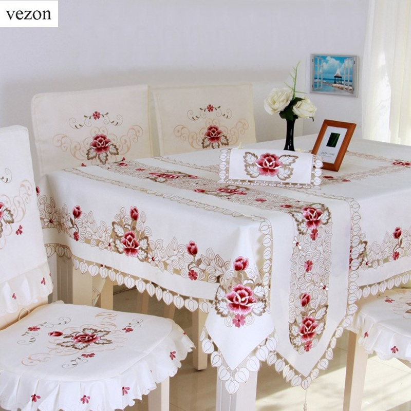 vezon New Hot Elegant Satin Embroidery Floral Tablecloth Flower Embroidered Table Cloth Covers for Wedding Towel Home Textiles
