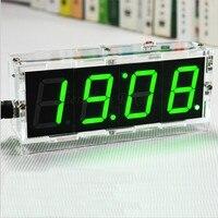 חדש מגיע אלקטרוני קומפקטי ספרות DIY הדיגיטלי LED שליטת אור ערכת שעון טמפרטורת תאריך תצוגת זמן עם מקרה שקוף