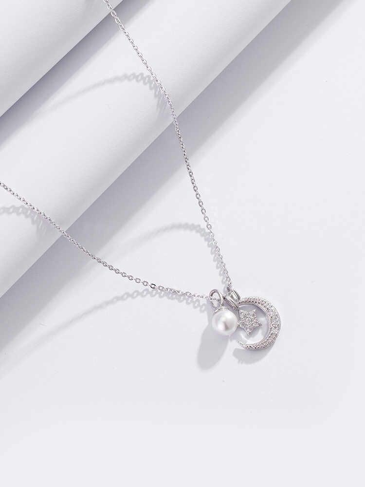 Pesona Fashion Wanita Bulan Bintang Kalung Perhiasan 925 Sterling Silver Kalung Kalung Liontin untuk Wanita Gadis Hadiah Colar