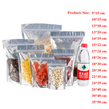 30pcs/lot Aluminum Foil / Clear Flat Bottom Resealable Valve Zipper Plastic Retail Package Pack Bag Thickness 20 Wires