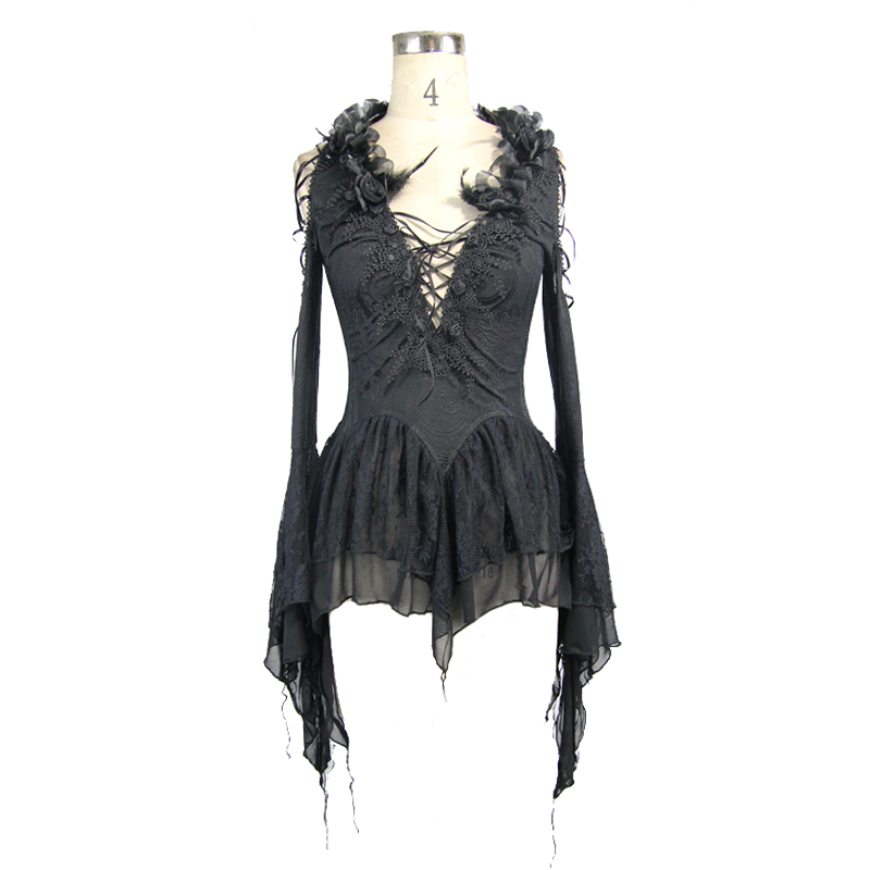 Devil Fashion Black Sexy Lace Deep V Collar Embroidered Bind Women T-Shirt Gothic Dew Shoulder Hollow Out Flare Sleeve Shirt Top sexy slim t shirt women off shoulder cropped top harajuku flower print shirt top bandage long sleeve tee flare sleeve t shirt