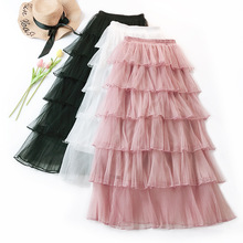 2019 Spring Fashion Women Lace Princess Fairy Style 6 layers Voile Tulle Skirt Bouffant Puffy Long Tutu Skirts