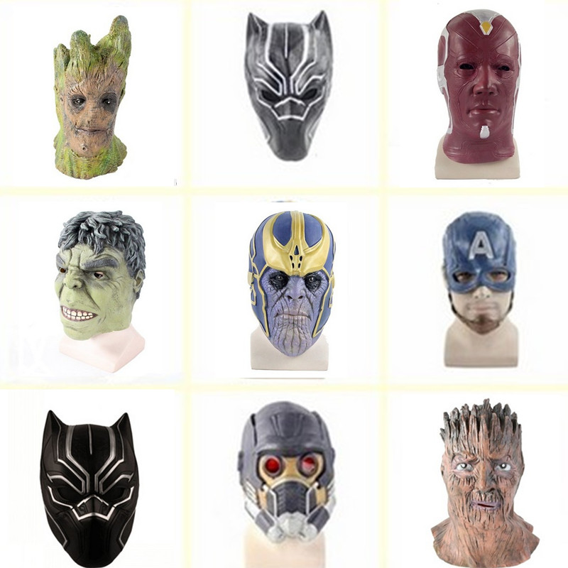The Avengers 3 Character Cosplay Mask Hulk Star-lord Thanos Captain America Latex Mask Halloween Costumes Masquerade Party dress
