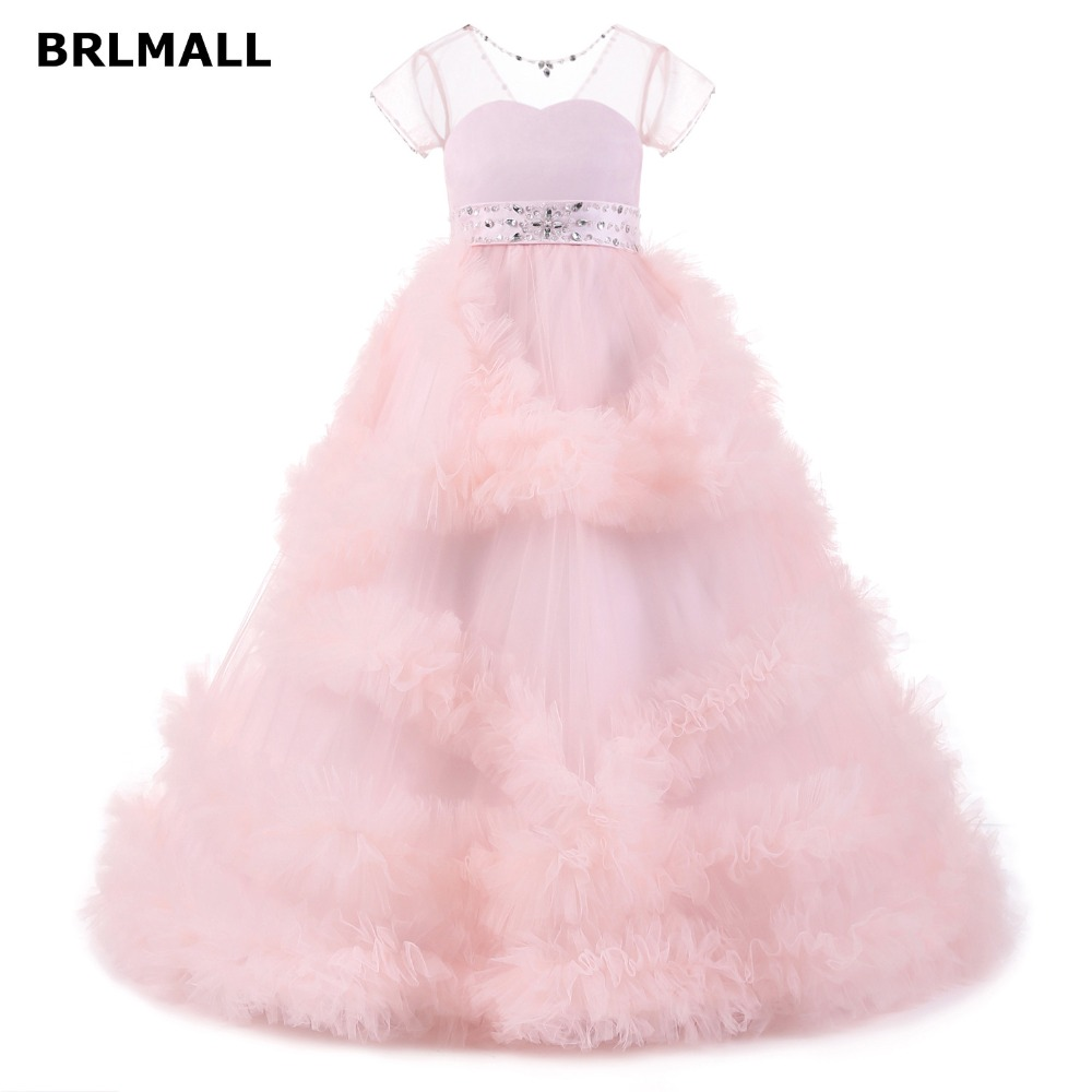 2018 cute flower girl dresses floor length cheap tiered tulle short 2018 cute flower girl dresses floor length cheap tiered tulle short sleeve ball gown first communion dresses for girls izmirmasajfo